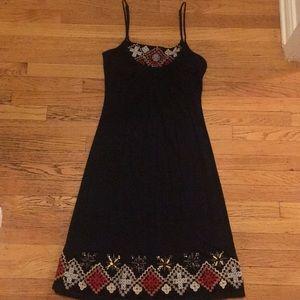 Black spaghetti Strap Dress with Beading